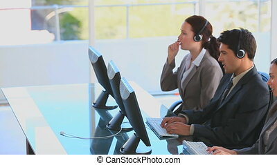 Business people in a call center