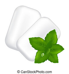 Chewing Gum And Fresh Mint Leaves, Isolated On White...