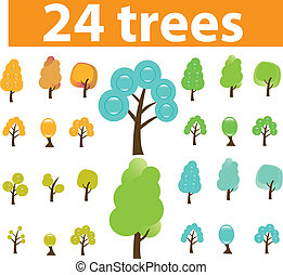 trees cute signs, vector