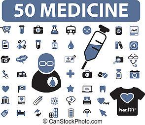 50 medicine signs - 50 medicine web signs, vector