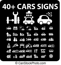 40  cars signs - 40  cars top signs, vector