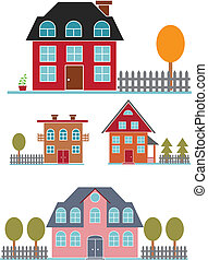 cute family buildings set. vector