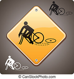 Sport incident, bike - Bike incident warning road sign
