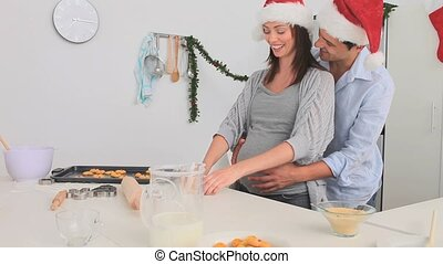 Cute couple cooking together