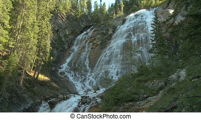 Spray waterfalls in the Rockies