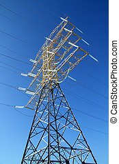 electric high tower strcture  blue sky