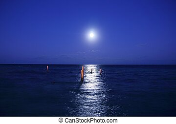 caribbean moon night sea reflection scenic - caribbean moon...