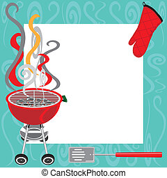 BBQ Party Invitation with copy space