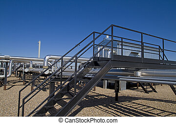 Active Natural Gas Compressor site - Buildings, pipelines...