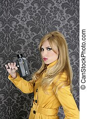 fashion Super 8mm camera reporter woman vintage wallpaper...