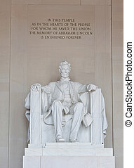 Abraham Lincoln statue in the Lincoln Memorial in Washington...