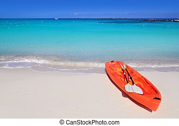Kayak in beach sand caribbean sea turquoise water