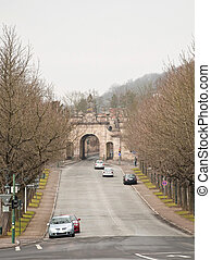Paulustor town gate Fulda Germany - The road through the...