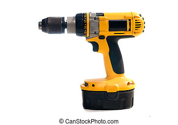 Hand drill - Yellow hand electric drill on battery charger