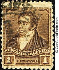 Bernardino Rivadavia - ARGENTINA - CIRCA 1858: A stamp...
