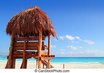 salvavidas, de madera, sol, techo, Caribe, tropical, playa