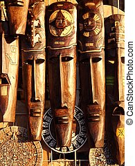 Mexican wooden mask handcrafted wood faces - beautiful...