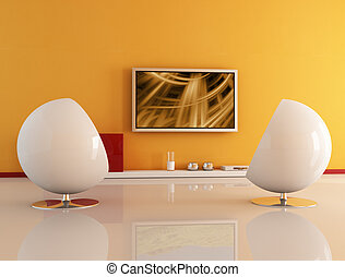 living room with lcd tv - two white armchair against lcd...