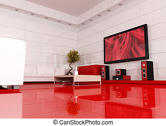cinema room - red and white living room with home theatre ,...