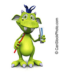 Cute cartoon monster holding toothbrush and toothpaste.