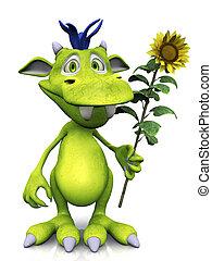 Cute cartoon monster holding a sunflower.