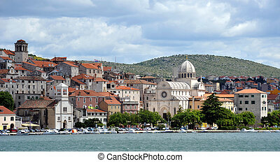 Sibenik, Croatia - Sbenik old town and the Cathedral of St....