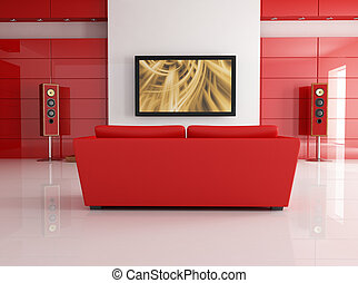 Home theater - red leather sofa in a modern living room with...