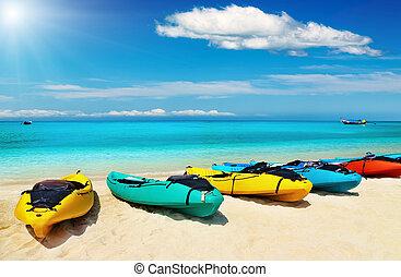Tropical beach - Kayaks on the tropical beach, Thailand