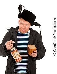 Russian Man in Fur Cap and Jacket with Vodka