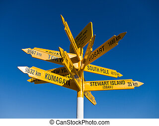 Signpost in Sterling point Bluff, South island of New...