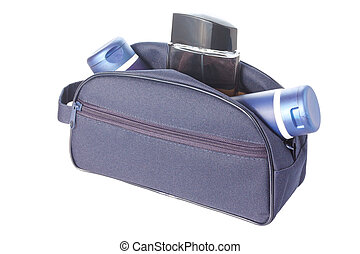 Travel toiletries bag with man`s cosmetics - Open blue...