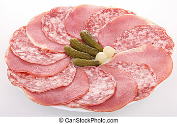 plate of delicatessen - delicatessen on white background