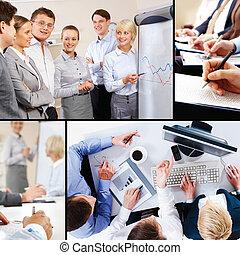 collage, empresa / negocio, interacción