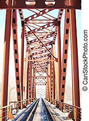 Railroad Bridge - Perspective of Russian railway under...