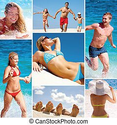 Summer vacations - Collage made of images of people on the...