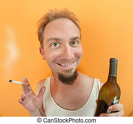 Man with alcohol and cigarette - Caucasian man holding a...