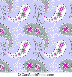 Seamless grey floral pattern with flowers and paisleys...