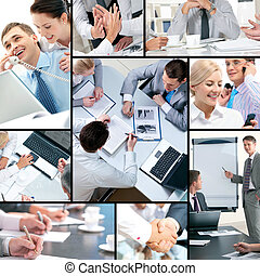 Business collage - Collage of business people and business...