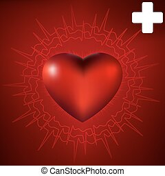 Vector normal ecg red background, heartbeat. EPS 8