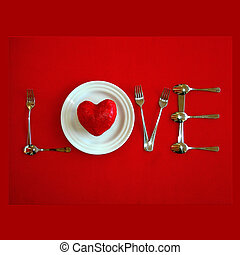 The word love spelt with cutlery and plates