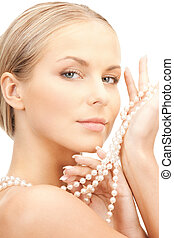 beautiful woman with pearl beads - picture of beautiful...