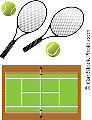 tennis racket and balls, vector - tennis rackets, balls and...