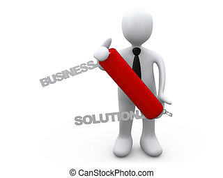 Business Solution - 3d person holding a swiss knife with the...