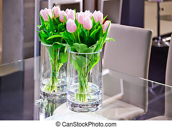 spring tulips in interior