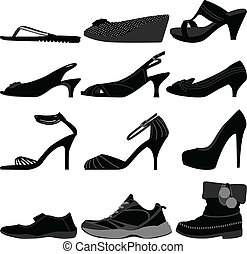 menina, femininas, mulher, sapatos, calçado