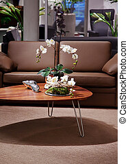 cozy interior with flowers on table