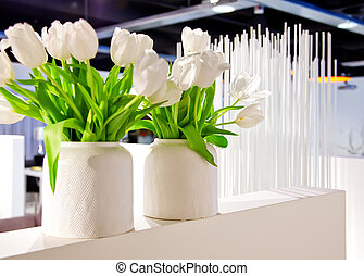 white tulips in interior