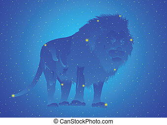 Constellation Leo - Zodiacal constellation. Abstract image...