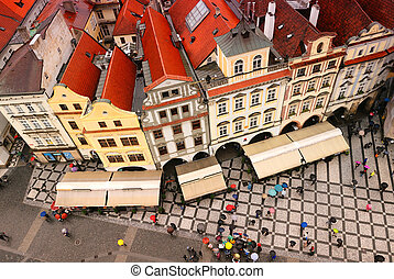 Old town of Prague - Stock Photo: crowded square in the...