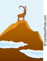 Mountain goat standing on top of a mountain, beneath...